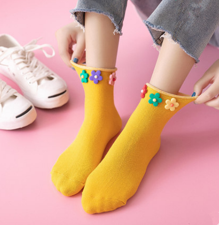 Cute flower socks (three pairs) yv42171
