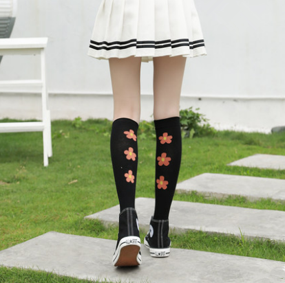 Japanese flower calf socks (two pairs) yv42172