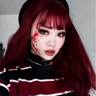 Blood color rose air bangs roll wig YV40479