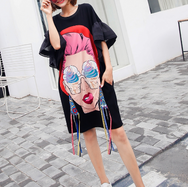 Cartoon sequins loose long T-shirt yv42276