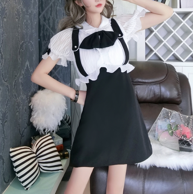 Cute bow chiffon lace dress yv42277