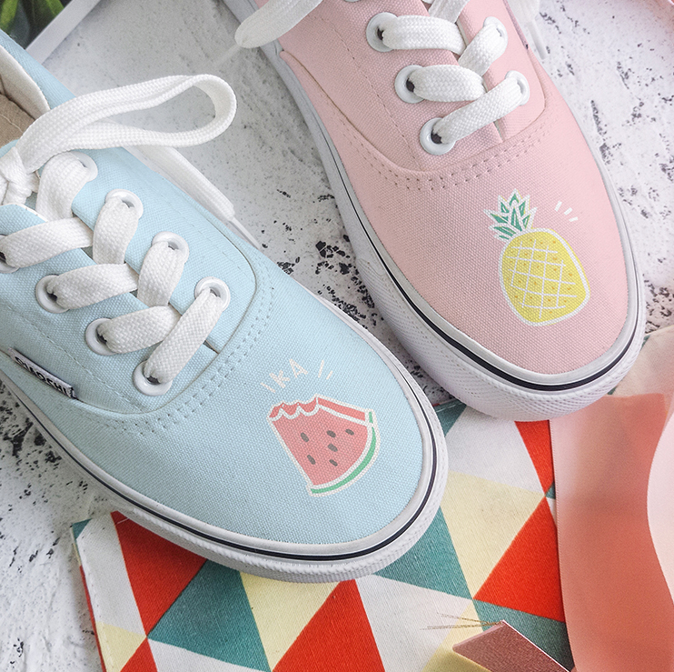 Blue pink fruit canvas shoes yv42288