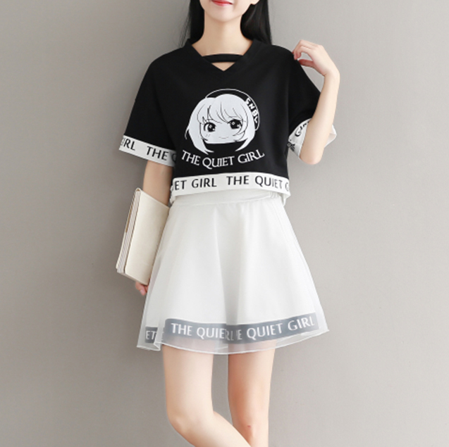 Cute the quiet girl top+ dress two-piece suit yv42312