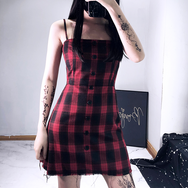 Red and black plaid strap dress yv42334