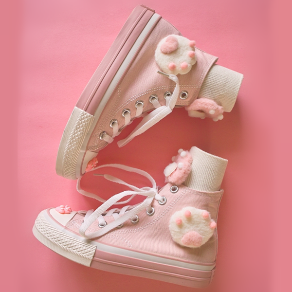 Cute pink cat paw canvas shoes yv42361