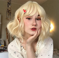 Review for Milky white air bangs wig YV40108