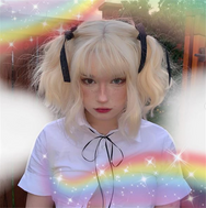 Milky white air bangs wig YV40108