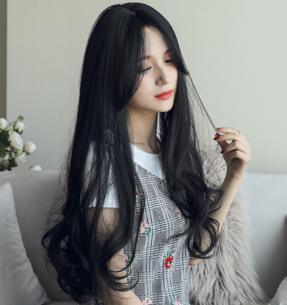 Black big wavy long roll wig yv42533