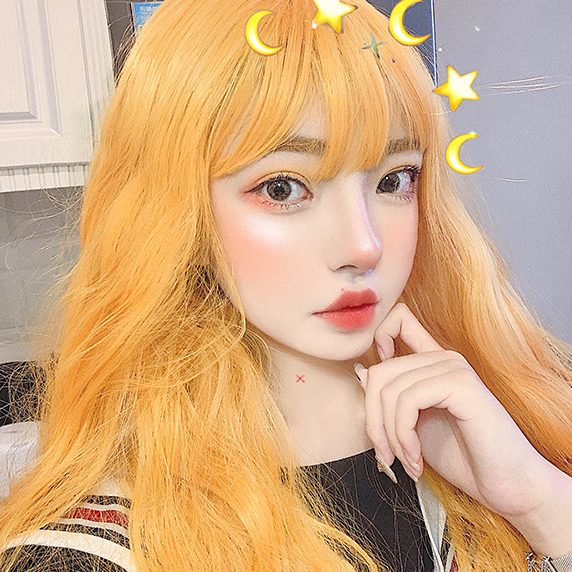 Big wave lolita yellow wig yv42546