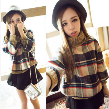 Woolen Plaid Cloak Scarf Jacket yv42590