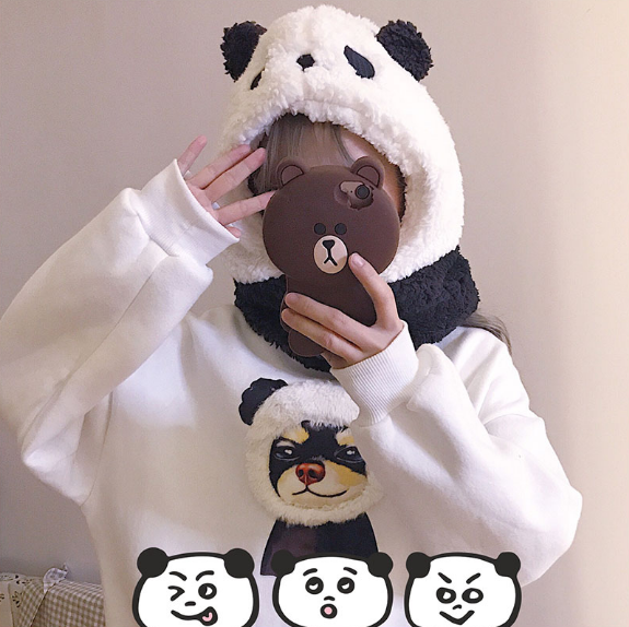 Cute panda cartoon plush hat yv42625