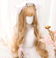 Linen gold lolita long roll wig yv42636