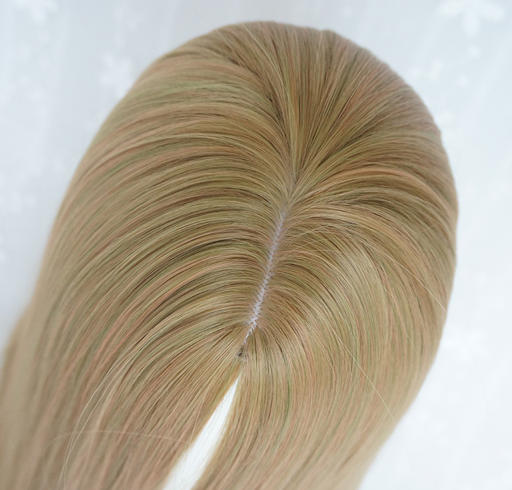 Gold-green mixed long straight wig YV42696