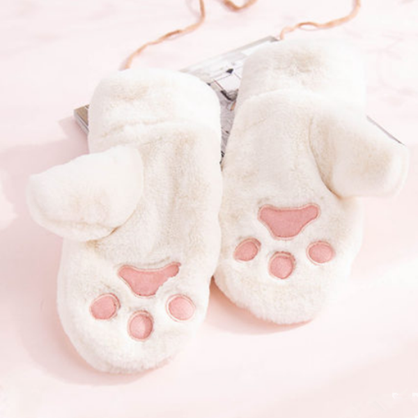 Cute cat paw plush gloves yv42709