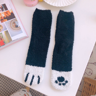 Cute cat paw coral fleece socks yv42726