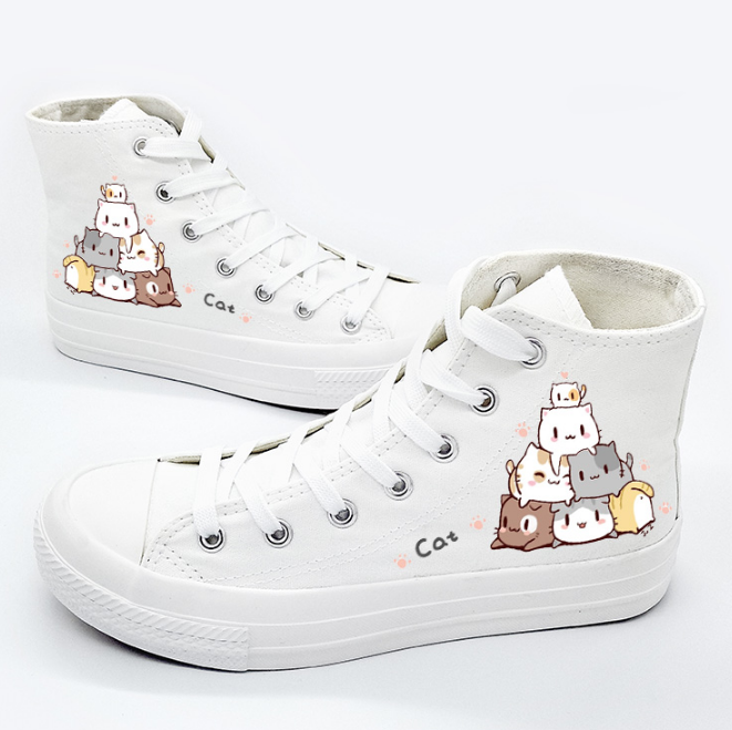 Cute cat canvas hand-painted shoes yv42752