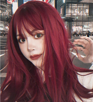 lolita red long curly wig yv42771