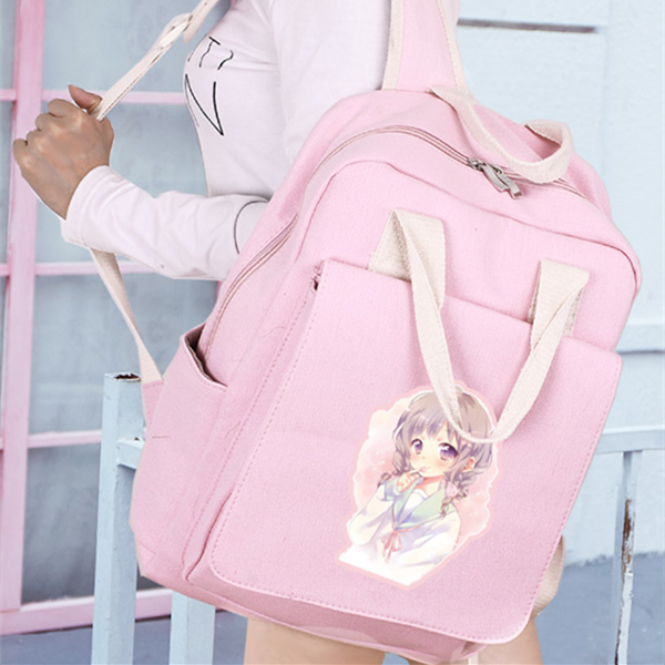 Cute girl canvas backpack yv42876