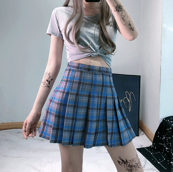 Blue plaid skirt yv42902