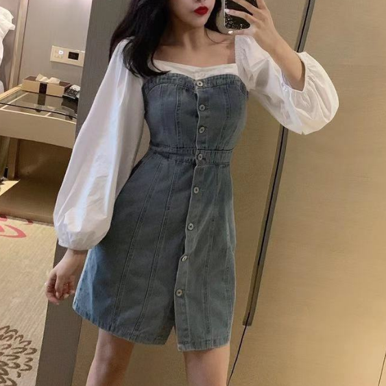 Korean denim dress yv42907