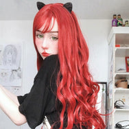 Red long roll wig yv42355