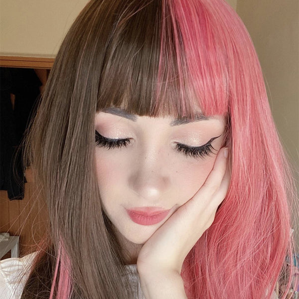 Review For Cute Pink Brown Wig Yv42853