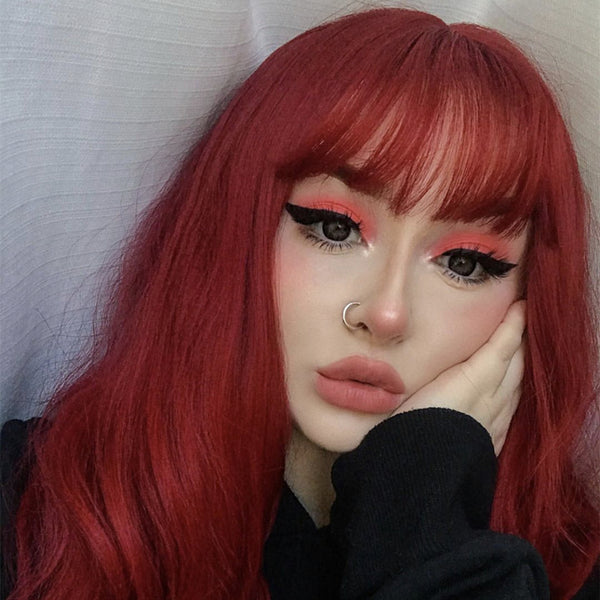 Review For Blood Color Rose Air Bangs Roll Wig YV40479
