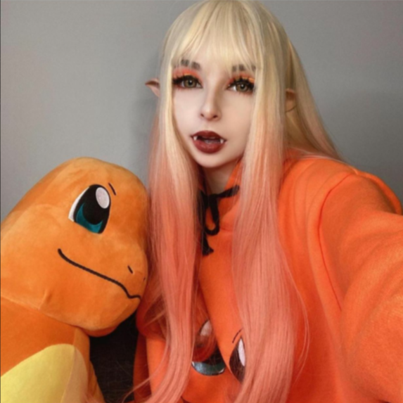 Review for Gradient orange long wig YV43666