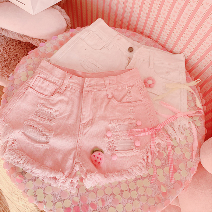 All-match ripped denim shorts YV43822