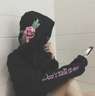 Rose embroidered don't talk to me hooded yv3020