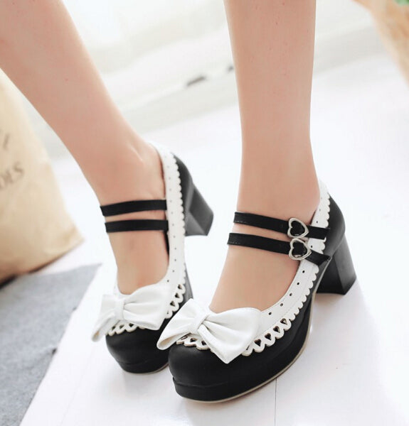 New Lolita Bow Heeled Shoes YV5603