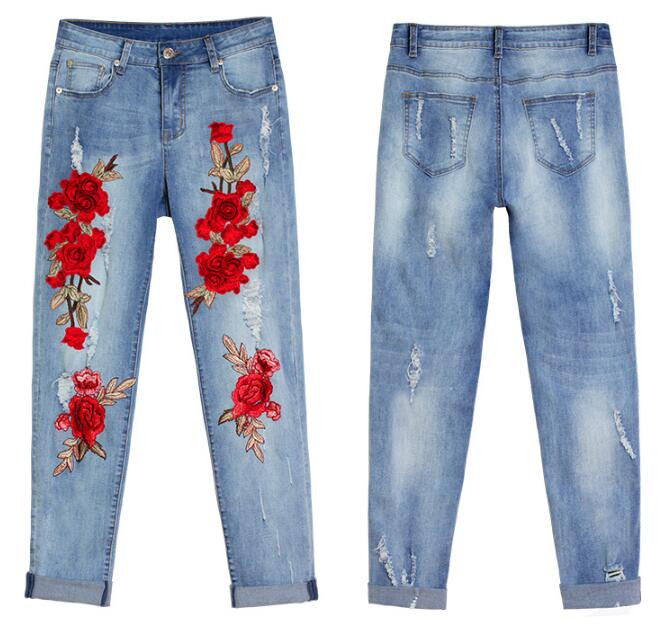 Fashion Floral Embroidered Distressed Jeans YV17015