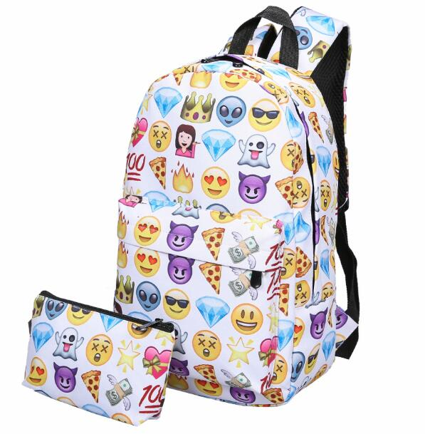 Emoji Prints Backpack With Purse YV2252