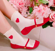Vintage Heart Pattern Socks 4 PCS Sets