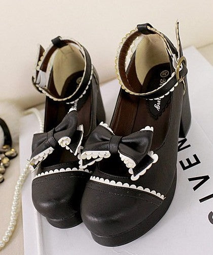 Japanese retro bow shoes YV40125