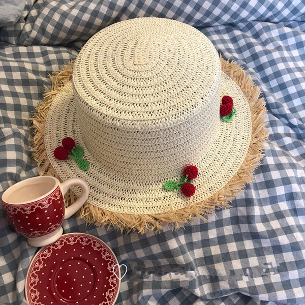 Japanese cute cherry straw hat YV40364