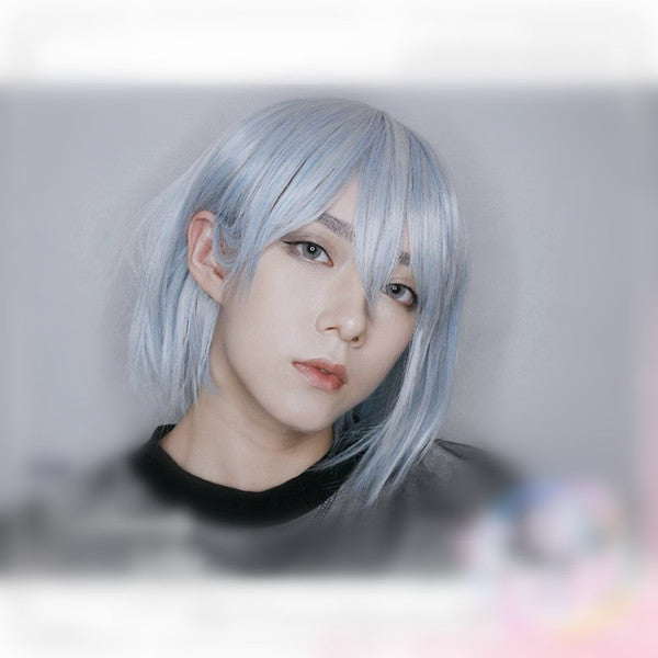 Blue and white mixed color men's wig YV40418