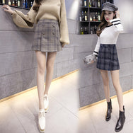 Plaid skirt high waist skirt YV8072