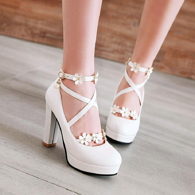 Lolita flower pearl high heels YV40459