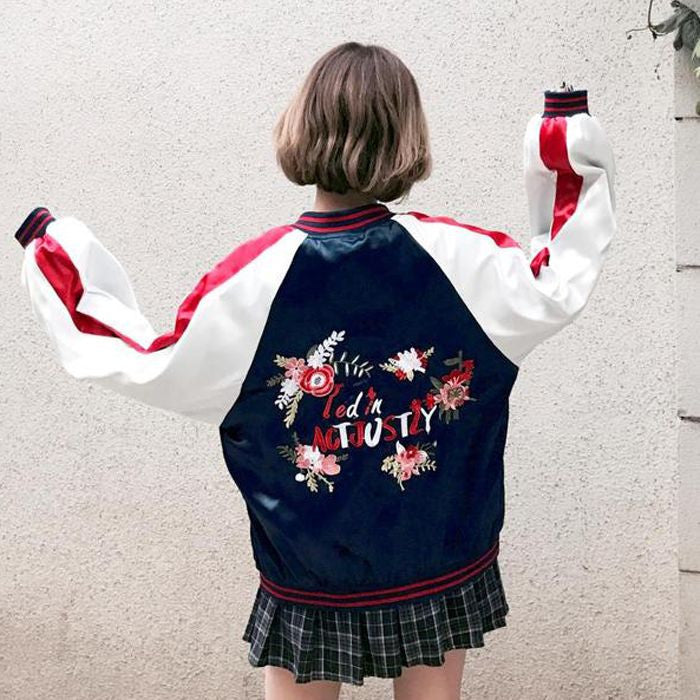 Contrast color embroidery loose baseball Harajuku BF jacket Coat YV246