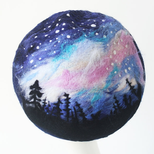 Quiet night handmade wool felt beret YV42426