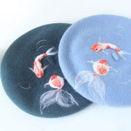 Auspicious Koi and goldfish art berets YV2408