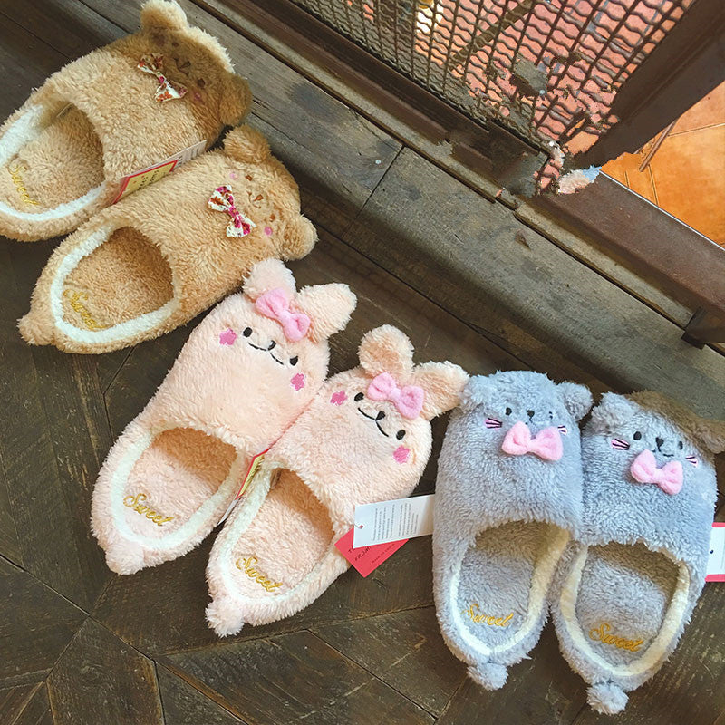 Small bear/rabbit/cat cartoon plush home cotton slippers YV5050