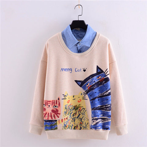 Cartoon Printing False tow piece Lapel Plus Cashmere Sweater YV156