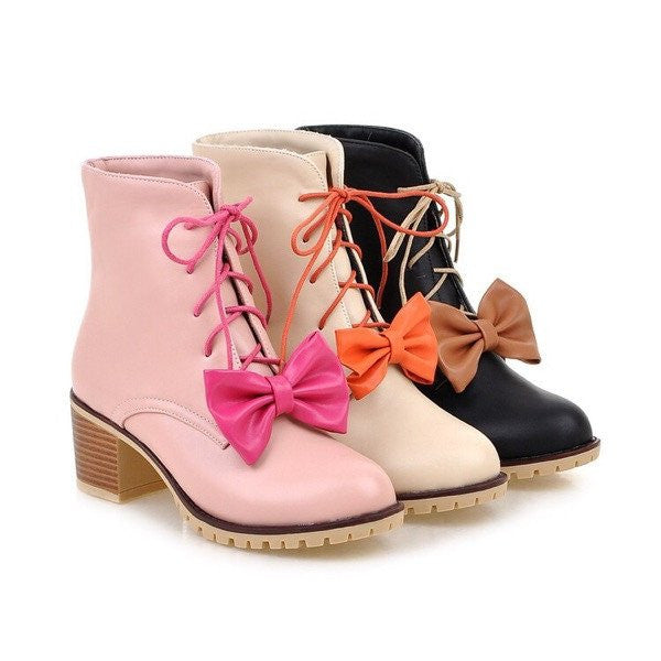Sweet bowknot Martin boots YV133