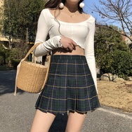Vintage high waist plaid skirt YV40334