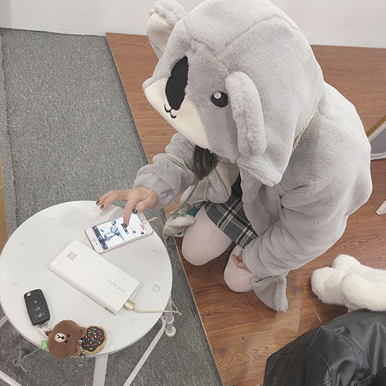 Grey koala ear plush coat YV8071