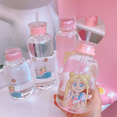 Cute beautiful girl straw glass + cup set YV40025