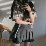 Plaid shirt + high waist skirt YV40347