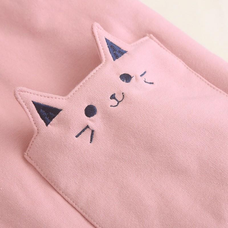 Warm Kawaii Pink/Black/Navy Embroidered Cat Hooded Ear Jacket YV2283